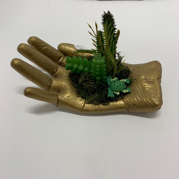 Cement Hand - Gold Succulent Holder