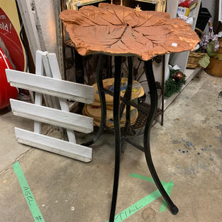 Cement Table - Copper Coloured Leaf