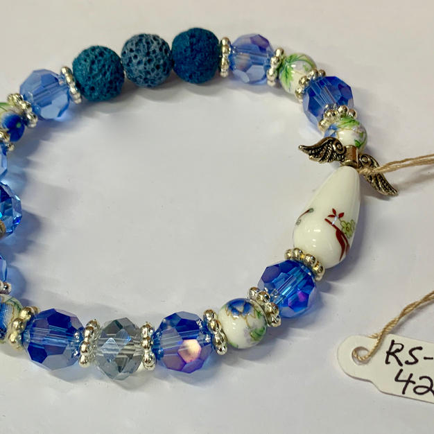 Angel Bracelet - Light Blue Crystal / Lava Bead