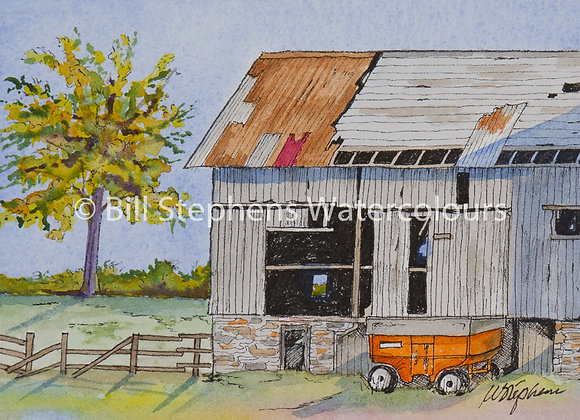 Original Watercolour Painting - Barn with orange trailer