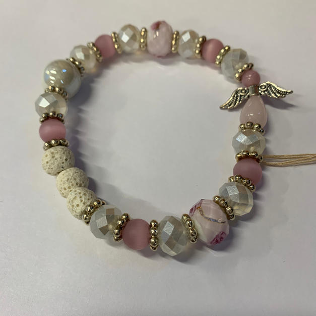 Angel Bracelet - Pink / White / Lava Beads