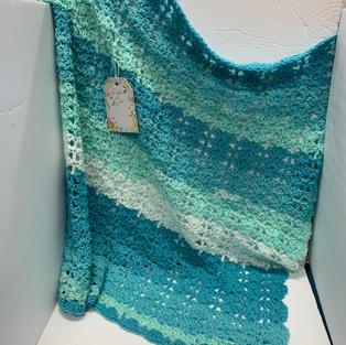 Afghan - Blue / Soft Green - 30 x 30