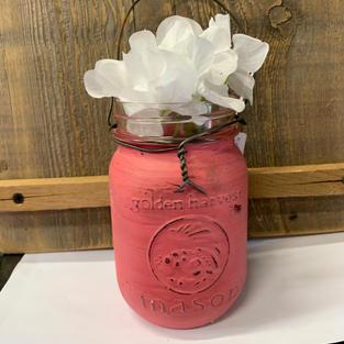 Chalk Painted Jar with Flowers -  Dark Pink