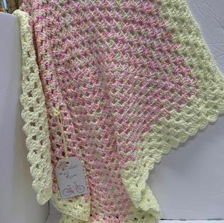 Afghan - Pink & Yellow - 30 x 30
