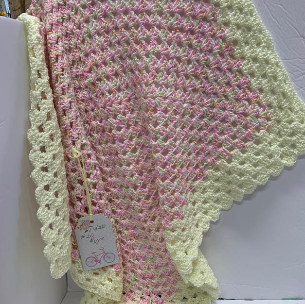Afghan - Pink & Yellow - 30 x 30