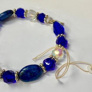 Angel Bracelet - Dark Blue / Crystal / Large Beads