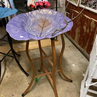 Cement Bird Bath / Steel Frame - Irridescent Purple