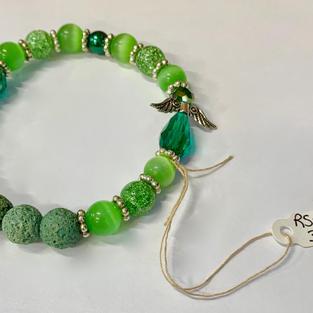 Angel Bracelet - Green Bead / Crystal
