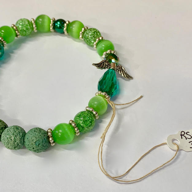 Angel Bracelet - Green Bead / Crystal