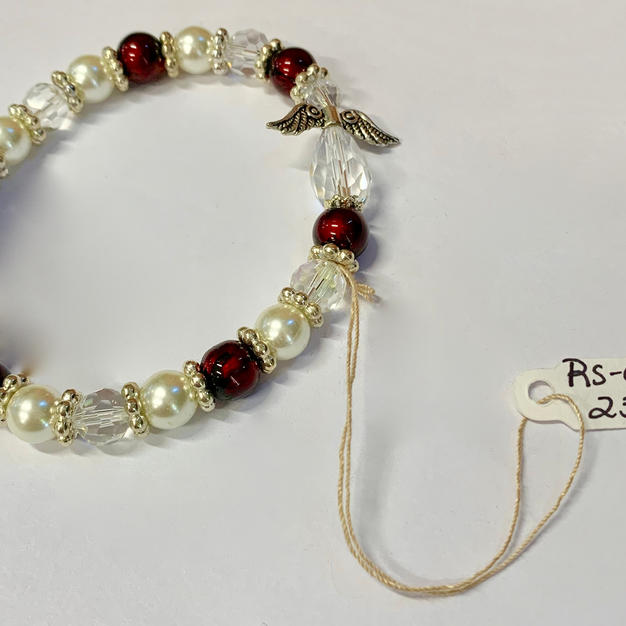 Angel Bracelet - Pearl / Crystal Red