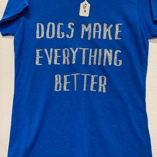 Dogs Make Everything Better - Tshirt - Blue S