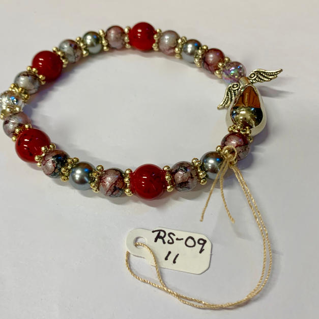 Angel Bracelet - Silver / Red / Mottled Pink