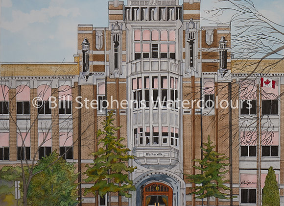 Original Watercolour - Walkerville Collegiate Institute - Windsor Collection