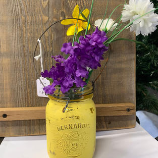 Chalk Painted Jar with Flowers - Yellow