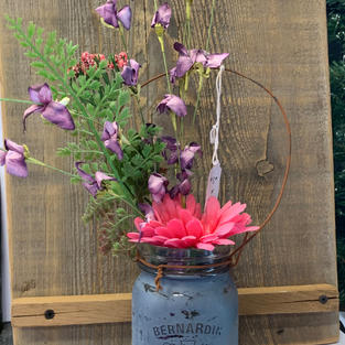 Chalk Painted Jar with Flowers - Mid Blue