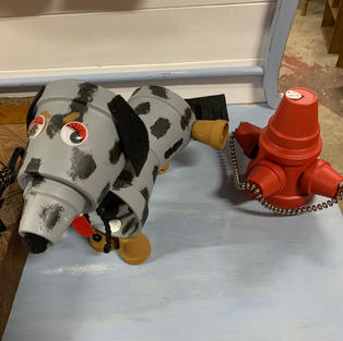 Large Spotted Dog with Fire Hydrant (Made of Clay Pots)