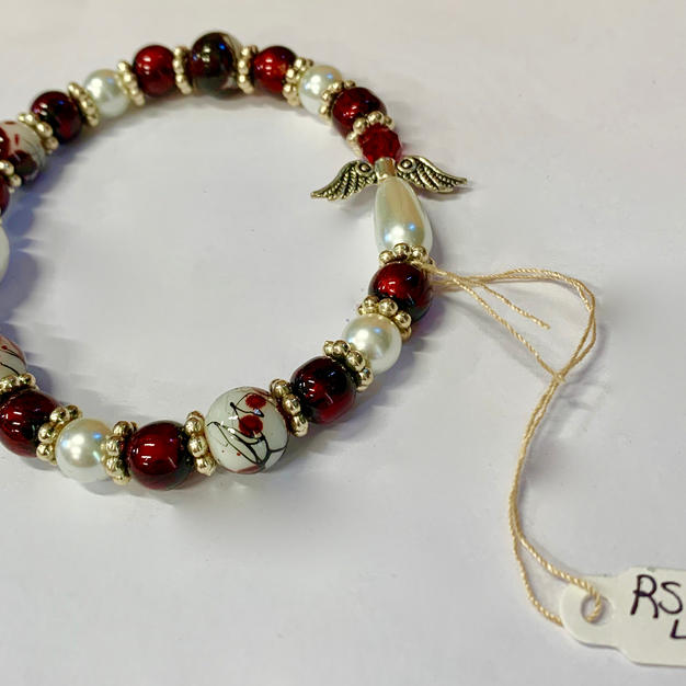 Angel Bracelet - Pearl / Red / Mottled Red