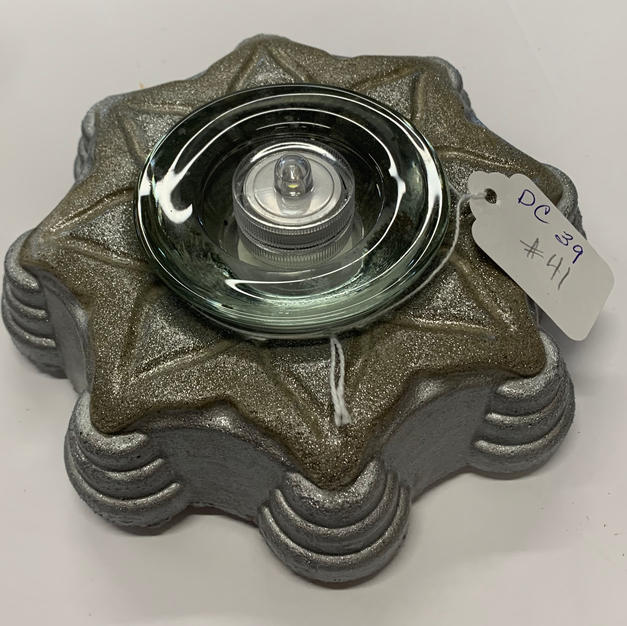 """Cement Candle Holder - 2"""" x 6"""" silver"""