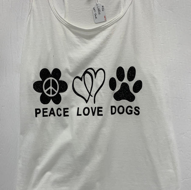 Peace Love Dogs - Tank Top - White L