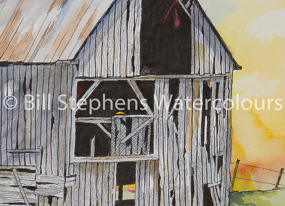 Original Watercolour Painting - Old Barn at Sunset