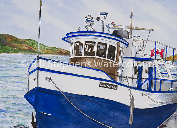 "Original Watercolour Painting -Tugboat ""Cambrian"""