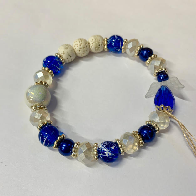 Angel Bracelet - Blue / White Lava Bead