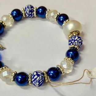 Angel Bracelet - Blue / White Pearl