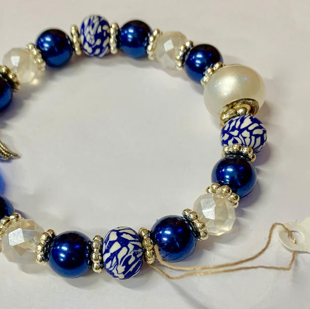 Angel Bracelet - Blue / White Pearl