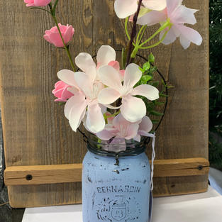Chalk Painted Jar with Flowers - Light Blue