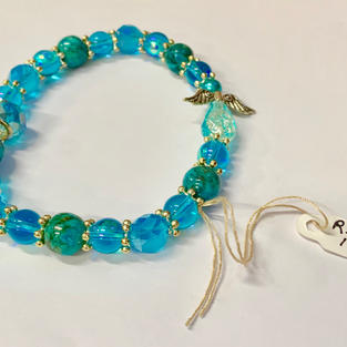Angel Bracelet - Light Blue / Aqua / Crystal