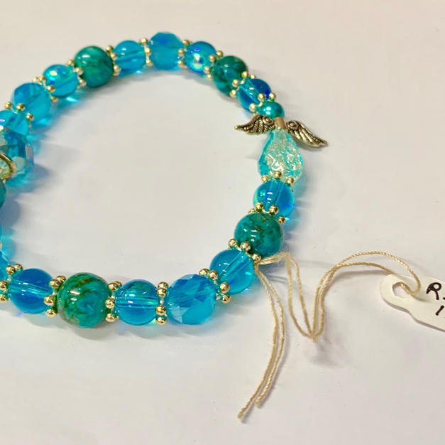 Angel Bracelet - Light Blue / Aqua / Crystal