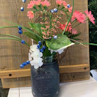 Chalk Painted Jar with Flowers - Dark Blue / Black