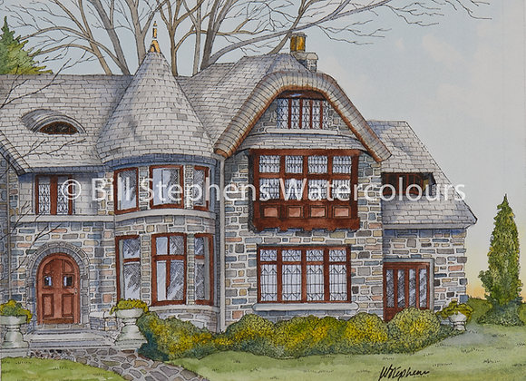 Original Watercolour - The Low-Martin Mansion - Windsor Collection