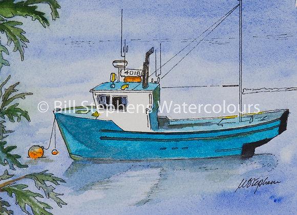 Original Watercolour Painting - Blue Fishing Boat