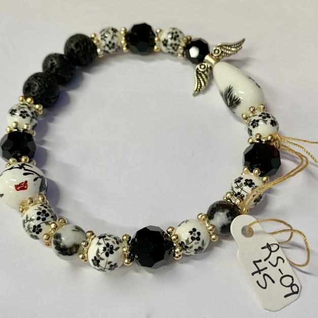 Angel Bracelet - Black / White / Lava Bead
