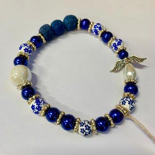 Angel Bracelet - Blue / White / Blue Lava Bead