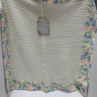 Afghan - White with Multicoloured Edge - 24 x 24