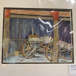 Wagon in Santa Fe Barn - Original Watercolour - (16x20)