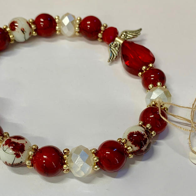 Angel Bracelet - Red / Crystal / Mottled Red