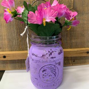 Chalk Painted Jar with Flowers -  Purple