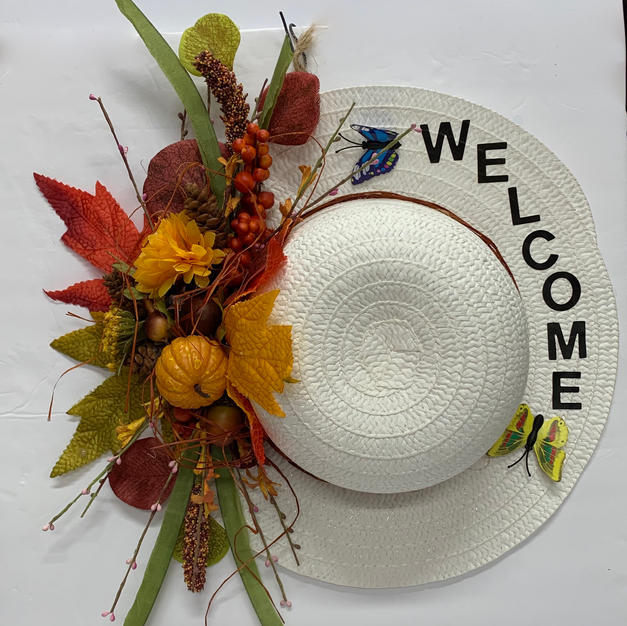 """White Straw Hat """"Welcome"""""""