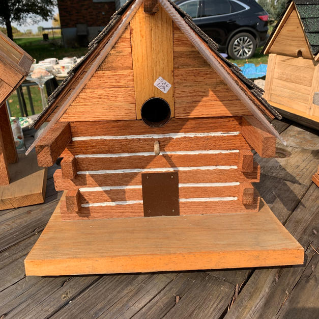 Bird House - Log Cabin with Awning - 11 x 12 x 12