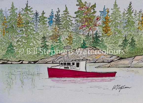 Original Watercolour Painting - Red Fishing Boat
