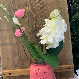 Chalk Painted Jar with Flowers - Pink