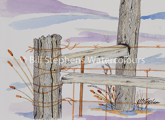 Original Watercolour Painting - Fence on Cromarty Drive (Small)