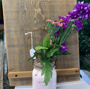 Chalk Painted Jar with Flowers - Pale Pink