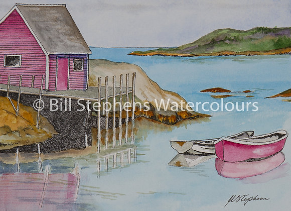 Original Watercolour Painting - Boats at Peggy's Cove