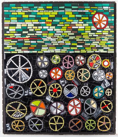 Mosaic SPOKE 14 Mixed media mosaic, cera