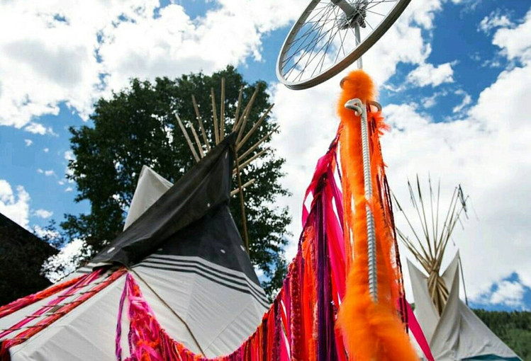 Wayout West Tipi Installation Exterior with Wheel