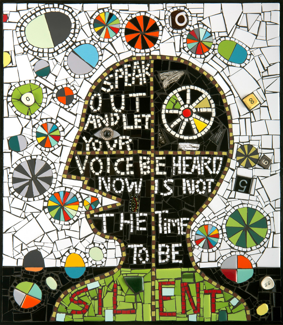 Mosaic Speak Out - mixed media mosaic, c